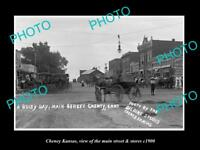 OLD LARGE HISTORIC PHOTO OF CHENEY KANSAS, THE MAIN STREET & STORES c1900