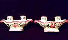 Pair Antique French Faience Finger Vases Tulip Hand Painted Strasbourg Chaumeil