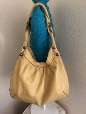 Lucky Brand Yellow Leather Twist Slouchy Hobo Tote Shoulder Handbag
