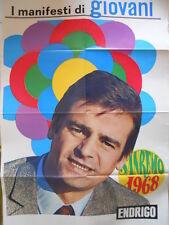 Poster Manifesti di GIOVANI 1967 73x50 cm FESTIVAL SANREMO 1968 ENDRIGO [D39-8]