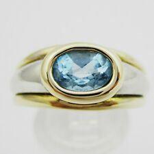 Fab 9ct White & Yellow Gold & Blue Topaz Set Ring. Size P