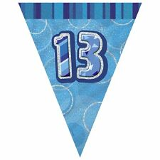 Blue Glitz 13th Birthday / Age 13 Flag Banner Bunting - 12ft Long - New & Sealed