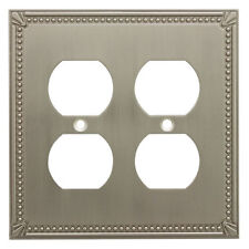 Satin Nickel Double Duplex Wall Plate Plug Electric Outlet Cover 44013-Sn