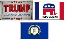 3x5 Trump White #2 & Republican & State of Kentucky Wholesale Set Flag 3'x5'