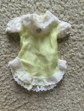 Barbie Doll Nightgown or Dress Pale Yellow White Lace Trim Short Sleeve