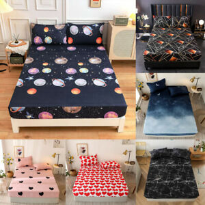 Creative Printed Soft Bed Fitted Sheet Protector Cover Bedspread For Teens Adult