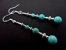 A PAIR OF LONG TURQUOISE BEAD EARRINGS WITH 925 SOLID SILVER HOOKS. NEW..