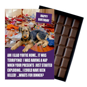 Airedale Terrier Birthday Card Funny Dog Gift Novelty 100g Boxed Chocolate Bar