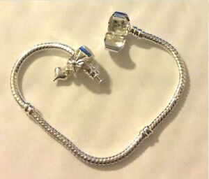 Silver plated Snake Chain charm bracelet with hinged heart stopper clip ALL SIZE
