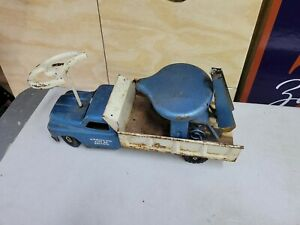 """P-Vtg1958 STRUCTO RIDE 'ER PRESSED STEEL WRECKER RIDING 24"""" Childs Toy Tow Truck"""