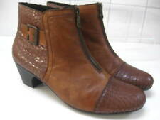 Ladies RIEKER tan brown leather ANKLE BOOTS shoes size UK 6.5 40