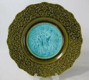 ANTIQUE MAJOLICA DARK GREEN RAISED RELIEF BORDER TEAL CENTER WITH BIRDS PLATE