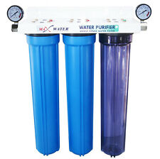 "3 Stage 20"" Whole House Water Filter Sediment GAC CTO w/ 2.5"" Dry Pressure Gauge"