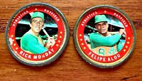 1971 Topps COINS #8 Felipe Alou and #40 Rick Monday - A's