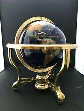 "LAPIS & BRASS GEMSTONE 12"" WORLD GLOBE WITH COMPASS"