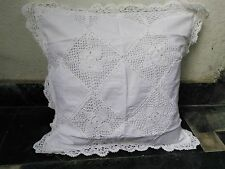 """Linen Lace Cushion Cover Handmade in size 18"""" x 18"""" in white color"""