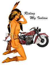 Sexy Motorcycle Indian Pinup Girl Waterslide Decal Sticker S623
