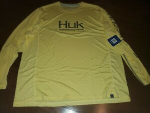 Huk Performance Fishing Icon  Long Sleeve Shirt, Yellow, 3X (XXXL)