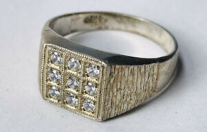 Mens silver and clear stones ring UK size Y