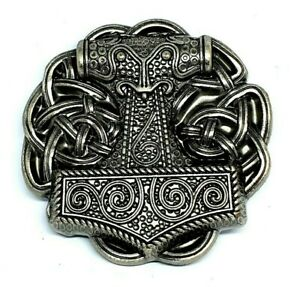 Thor's Hammer Belt Buckle Viking Celtic Raven Skane Metal Pewter Buckle Only Uk