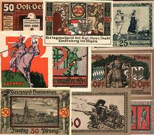 10 Diff Rare Ww1 Era German Banknotes w War & Military Themes! Cv $200 Save 80%!