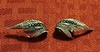 Vintage Avon Wing Black Stone Clip On Silver Tone Earrings