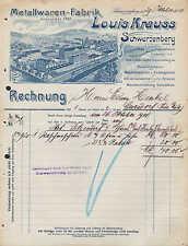 SCHWARZENBERG Sa., Rechnung 1908, Waschmaschinen-Fabrik Louis Krauss