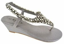 LADIES WOMENS LOW MID WEDGE DIAMANTE WEDDING JEWELLED TOE POST SANDALS SHOES SZ