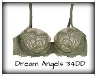 Victoria's Secret Dream Angels Lace Lined Demi High Neck Bra Green 34DD  NWT