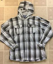 Ecko Unltd. Men's Sz 3XL Black Gray White Plaid Hooded Long Roll UP Sleeve Shirt