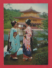 Maiko Japan Geisha Postcard Golden Pavilon Kyoto Woman Folklore Kinkakuji Temple