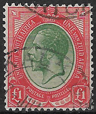 South Africa 1913 KGV SG17 £1 Green & Red FU #4