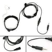 1x 3.5mm Throat Microphone Covert Acoustic Tube PTT For Yaesu VX6R VX7R Radio T2