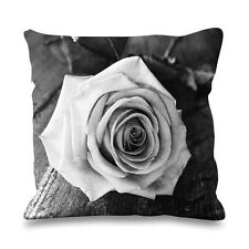 Rose Black and White Faux Silk 45cm x 45cm Sofa Cushion - Floral Flower Roses