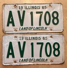"""1965 ILLINOIS LICENSE PLATE 2 PLATES MATCHING PAIR """" AV 1708 """" IL LAND LINCOLN"""