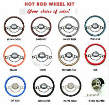 Chrome Hot Rod Steering Wheel Full Kit for GM Columns, Ididit, Flaming River etc