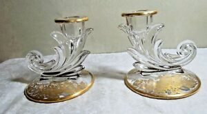 """2 Fostoria Baroque #2496 4 """" Candle holder w/ Silver City 22 Kt Gold Queens Rose"""