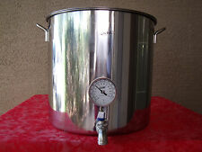 Jarhill 33 QT STAINLESS HOME BREW BOILING KETTLE STOCKPOT w/ VALVE & THERMOMETER