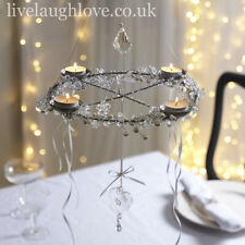 Pearl & Crystal Hanging Chandelier Tea Light Holder