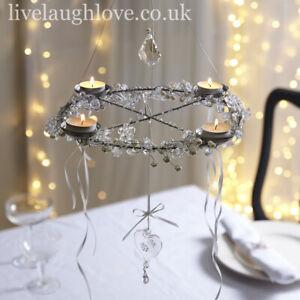 Pearl & Crystal Hanging Chandelier Tea Light Holder