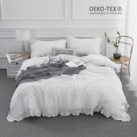 Simple&Opulence 100% Stone Washed Linen White Frill Floral Flax Duvet Cover Set