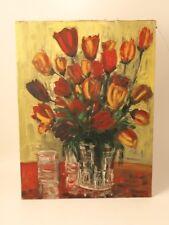 Huile sur toile bouquet de tulipessur chassis bois vintage