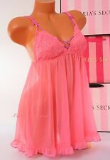 VS Victoria's Secret Lingerie Fly-away Tulle Babydoll Lace Unlined L Large Pink