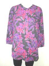 NYDJ Femmes haut tunique 36 S noir rose violet fleurs imprimé NP 129 NEUF