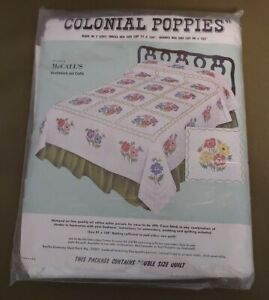 """Bucilla Jiffy Cross Stitch Quilt #1679 """"Colonial Poppies"""" Single or Double Size"""