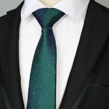 "Dark Green 7CM Mens Ties 57"" Striped Dots Wedding Silk Tie Man Necktie Accessory"