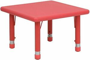24'' Square Red Plastic Height Adjustable Activity Table  New