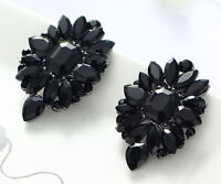 1 Pair Elegant Black Crystal Rhinestone  Ear Drop Dangle Stud long Earrings 163