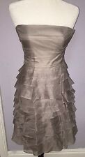 ZARA FORMAL SOLID GRAY RUFFLE STRAPLESS DRESS || 100% SILK || TIERED || SIZE XS