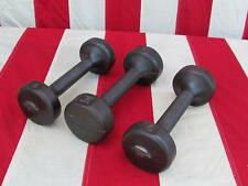 Vintage Hoffman Industries 3 Cast Iron Dumbells Hand Weights 5/6 Lbs Reading,PA.